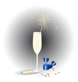 a glass of champagne and chocolates festive vector image vector image