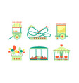 amusement park attractions icons set roller vector image vector image