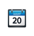 August 20 Calendar icon flat vector image