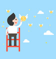 businessman on ladder pick a flying coins from vector image