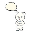 cartoon teddy polar bear with thought bubble vector image