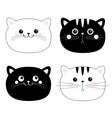 cat set black white head face line contour vector image vector image