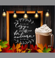 chalkboard with autumn leaves vector image