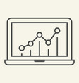 chart on laptop thin line icon graph on monitor vector image vector image