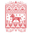 christmas pattern with rocking horse vector image vector image