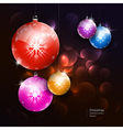 colorful christmas balls on dark background vector image