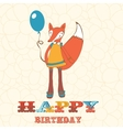 Colorful happy birthday card with cute fox girl