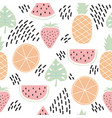 Colorful seamless pattern with tropical fruits
