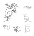 country australia outline icons in set collection vector image
