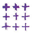 cross or plus symbols set of 9 hand painted plus vector image vector image