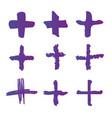 Cross or plus symbols set of 9 hand painted plus