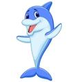 Cute dolphin cartoon waving vector image vector image