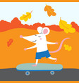 cute rat with skateboard traveling vector image vector image