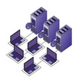 database server center security protection vector image vector image