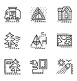 Elements of camping simple line icons set vector image vector image