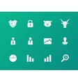 Finance icons on green background vector image vector image