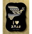 Gold Christmas Holiday design of modern dove bird vector image vector image