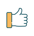 hand like approve social media line and fill vector image