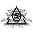 hand sketched all seeing eye pyramid symbol vector image