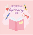 international literacy day textbook glasses pen vector image vector image