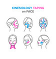 kinesiology taping on face vector image vector image