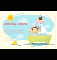 Little boy ship captain and friend background vector image vector image