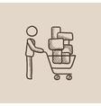 Man pushing shopping cart sketch icon