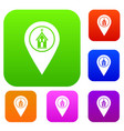 map pointer with church set color collection vector image vector image