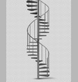 metal spiral helical staircase realistic vector image