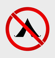 No camping prohibition sign vector image