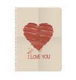 notebook sheet and heart-01 vector image vector image