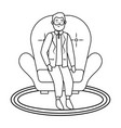 old man sitting black and white vector image vector image