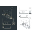 pallet jack with a hydraulic mechanism drawings vector image