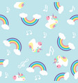 pastel rainbow unicorn with note seamless pattern vector image