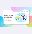 people have wintertime fun website landing page vector image vector image