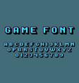 pixel art alphabet retro video game font vector image vector image