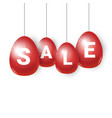 red easter eggs with sale signs hanging on white vector image vector image