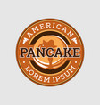 retro american pancake emblem logo design vector image