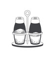 salt and pepper containers black silhouette and vector image vector image