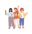 schoolchildren waving hands and saying hi or bye vector image