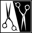 set scissors black and white silhouette vector image vector image