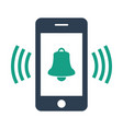 smartphone call with bell on white background vector image vector image