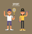 Sport Concept Tennis and Fitness Male and Female vector image vector image