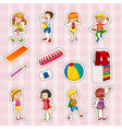 sticker set of kids and school objects vector image vector image