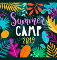 summer camp 2019 lettering on jungle background vector image vector image