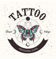 tattoo school posterbanner with magical butterfly vector image vector image