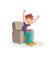 teenager boy sitting on armchair watching vector image