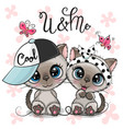 two cartoon kittens boy and girl with cap and bow vector image vector image