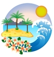 Two palm-tree on the tropical island vector image