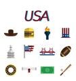 USA flat icon set vector image vector image